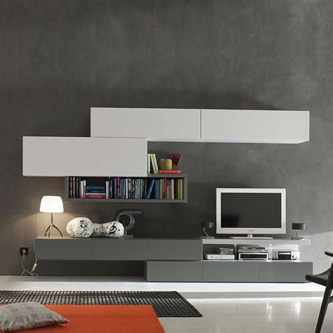 modern italian tv media unit grey white  santa lucia