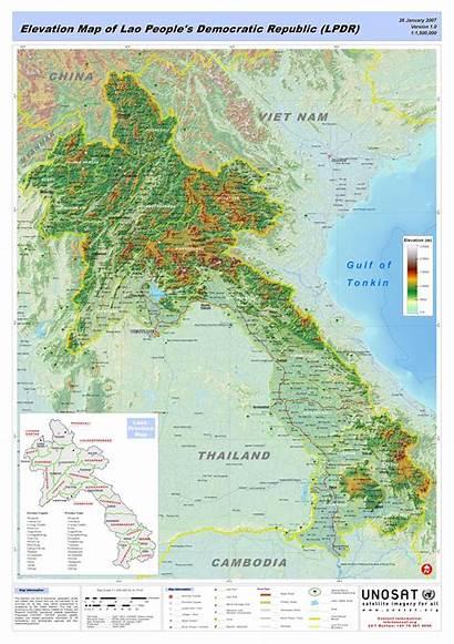 Laos Map Elevation Lao Maps Democratic Republic