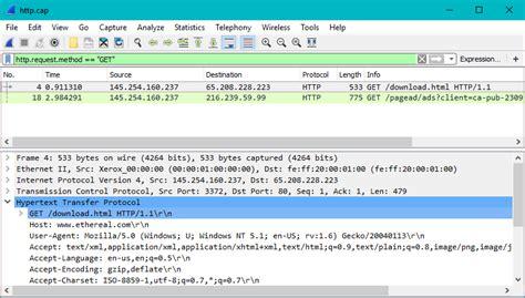 wireshark filter traffic protocol transfer hypertext information host