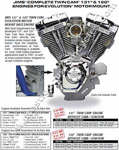 Jims 131 Ci Twin Cam W   Evo Mount Engine Motor Harley