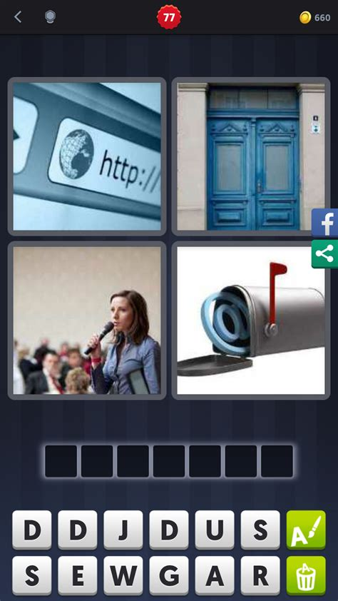 four pictures one word 7 letters 4 pics 1 word answers solutions level 77 address 33303