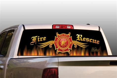 vehicle graphics rear window graphics original series fire rescue truck  suv rear window