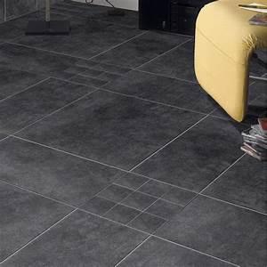 carrelage sol et mur noir effet beton factory l60 x l60 With parquet noir leroy merlin