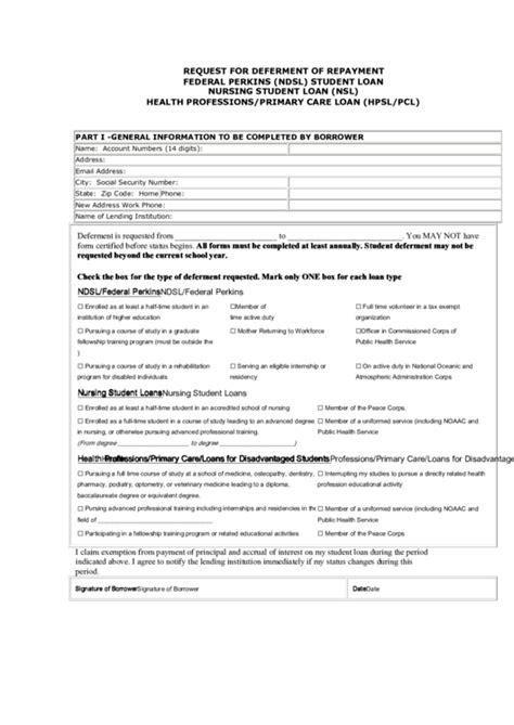 request form  deferment  repayment federal perkins