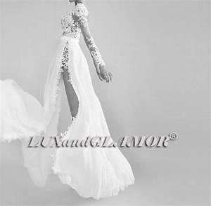 Dress long sleeve lace wedding dress side slit wedding for White flowy wedding dress