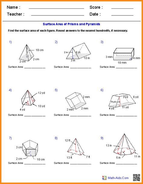 worksheets volume and surface area surface area and volume worksheet homeschooldressage