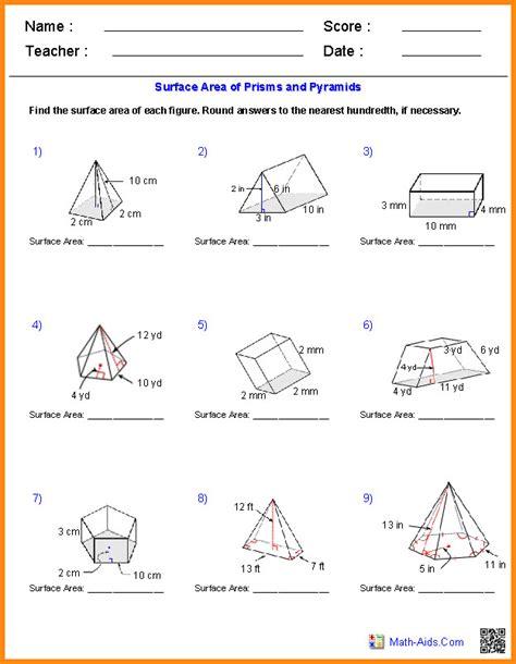 Surface Area And Volume Worksheet Homeschooldressagecom