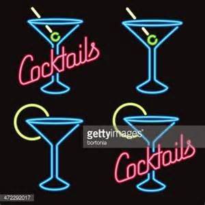 Neon Cocktail Lounge Signs Vector Art