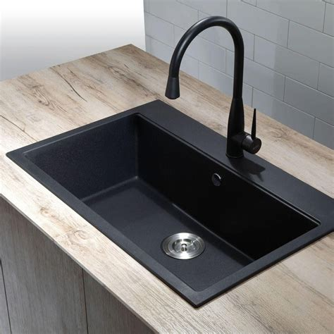 black granite kitchen sink kraus dual mount granite composite 31 in single basin