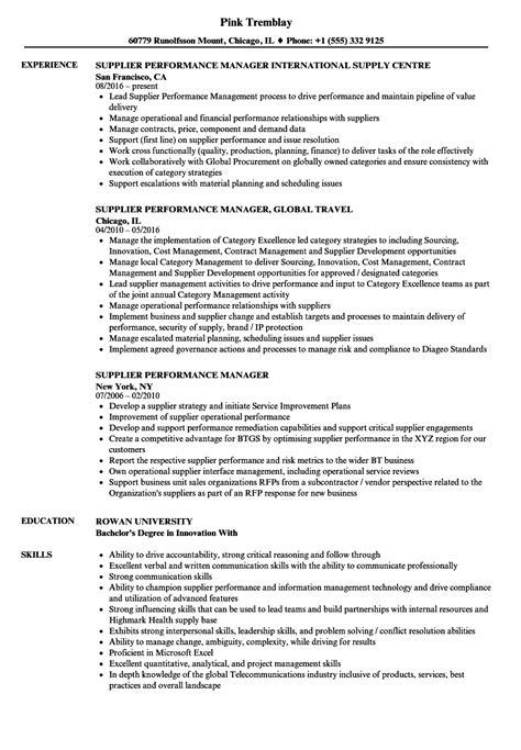 supplier performance manager resume sles velvet