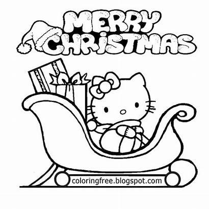 Coloring Pages Printable Drawing Kitty Hello Santa