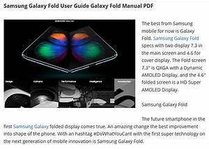 Samsung Galaxy Fold User Manual Pdf