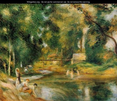 Essoyes Landscape Washerwoman And Bathers Pierre Auguste