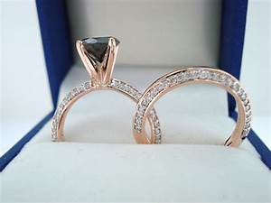 14k rose gold black diamond engagement ring wedding band sets With wedding ring sets with black diamonds