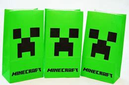 minecraft style birthday party plates cups  loot party