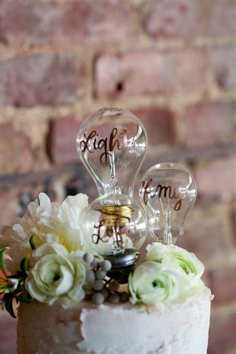 light bulb wedding cake topper deer pearl flowers