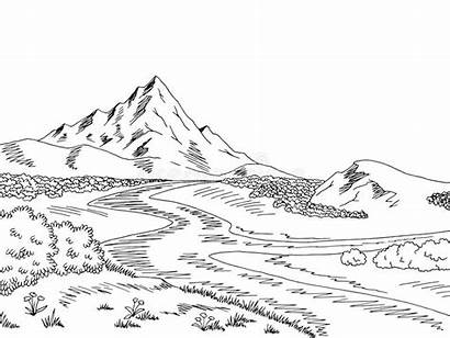 Mountain River Landscape Sketch Vector Clipart Illustration