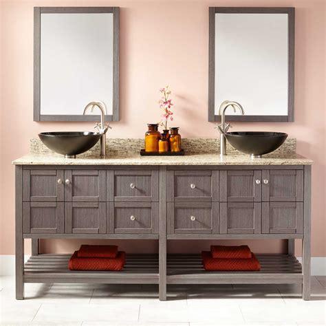 everett double vessel sink vanity ash gray bathroom