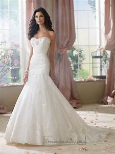 strapless a line softly curved neckline lace mermaid With a line mermaid wedding dresses