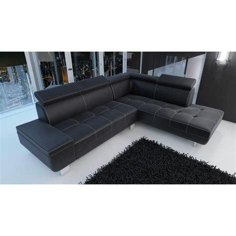 canapé cuir moderne design canapé d 39 angle moderne daylon simili cuir noir design