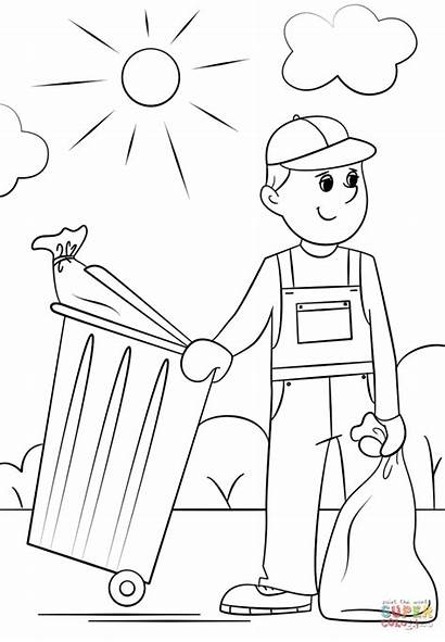 Garbage Coloring Collector Pages Clipart Printable Community