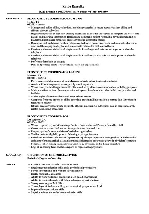 Office Coordinator Resume by Front Office Coordinator Resume Sles Velvet