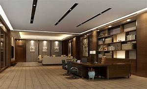 Minimalist design for CEO office suspended ceiling 3D