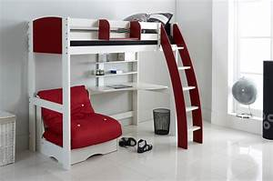 High sleeper beds with desk and futon bm furnititure for High sleeper bed with futon