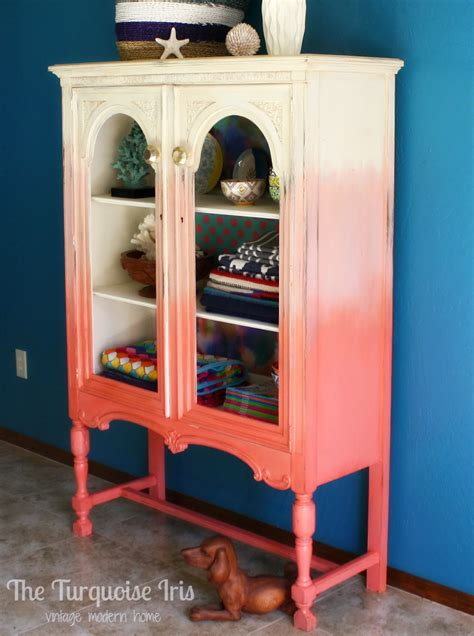 turquoise iris furniture art coral ombre cabinet