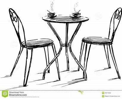 Drawing Cafe Furniture Chairs Chair Tables Terras