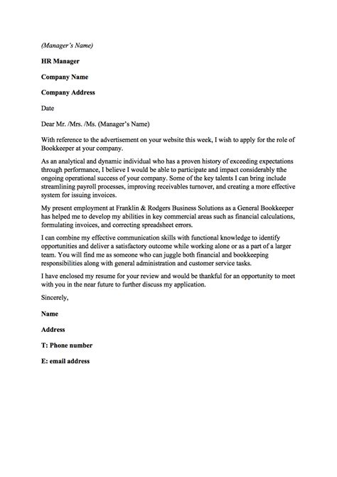 bookkeeper resume cover letter bookkeeper cover letter resume badak