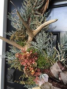 Rustic, Fall, Or, Winter, Wreath, With, Antlers, In, A, Grape, Vine, Wreath, With, Gre, U2026