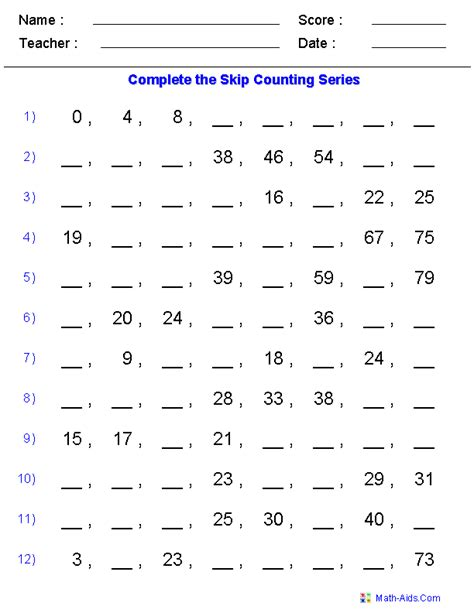 Skip Counting Worksheets  Dynamically Created Skip Counting Worksheets