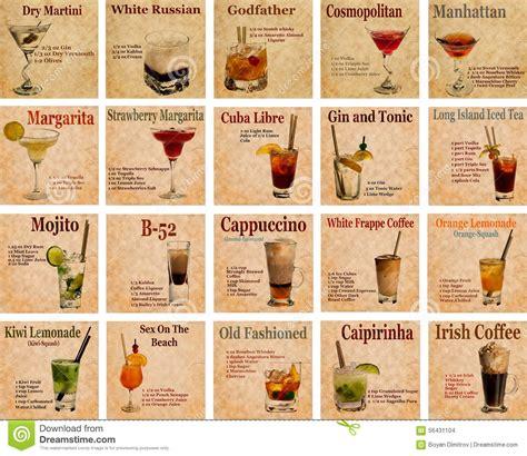 set  cocktail recipes stock photo image  caipirinha
