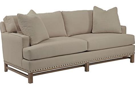 broyhill hampton sofa  long love  wood trim