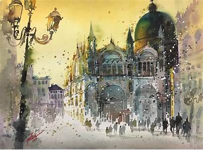 Watercolor Painting Architecture Italy Dome Venice Cathedral