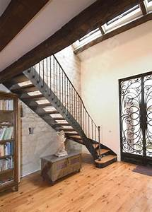 Escalier Fer Et Bois : escalier droit avec d part balanc fer et bois de style ~ Dailycaller-alerts.com Idées de Décoration