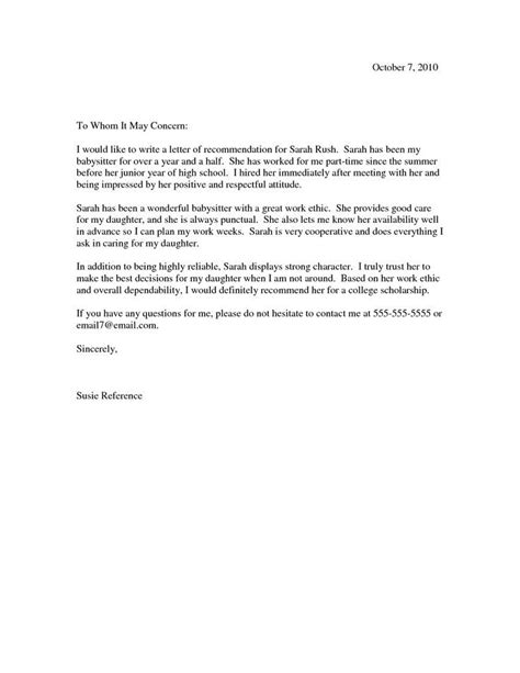 exle of a reference letter scholarship recommendation letter scholarship