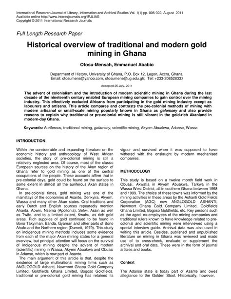 (PDF) Historical overview of traditional and modern gold