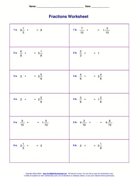 worksheet adding and subtracting fractions and mixed