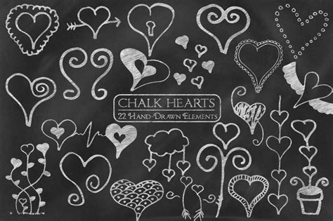chalk hearts hand drawn elements graphic objects