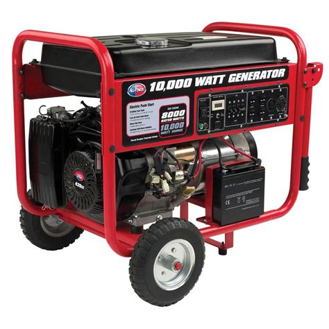 electrical watt all power 10 000 watt gasoline powered portable generator with mobility cart electric start