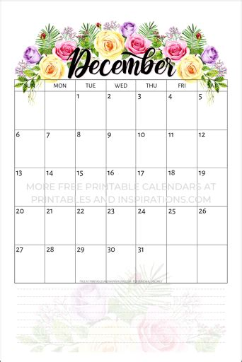 printable  calendar  flowers printables