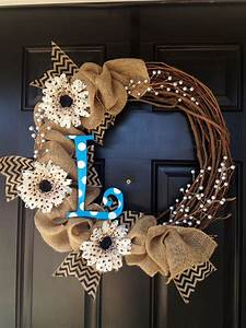 burlap wreath with polka dot letter by twistedandtwizzled With alphabet letter wreaths