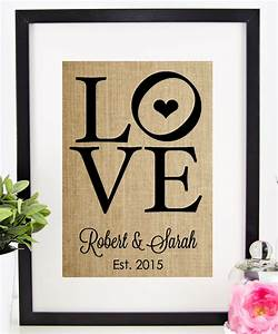 personalized wedding gift for couple burlap print love sign With unique wedding gifts for couples
