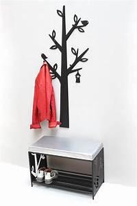Schuhregal Zum Aufhängen : schuhregal mit sitzbank wandgarderobe set metall schwarz ~ A.2002-acura-tl-radio.info Haus und Dekorationen