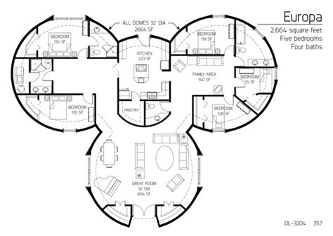 5 bedroom floor plans floor plans 5 bedrooms monolithic dome institute 13971