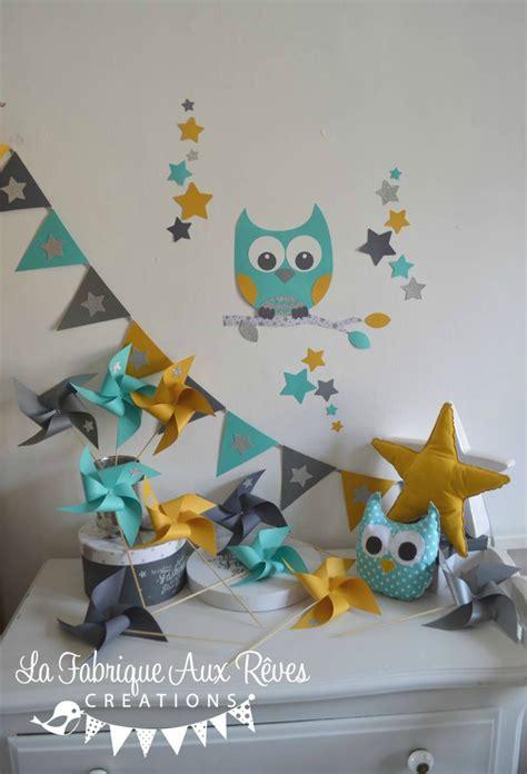 chambre bébé turquoise et gris décoration chambre enfant bébé hibou étoiles turquoise