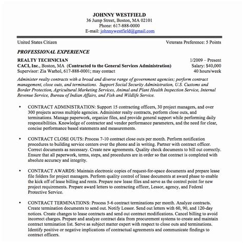 resume  paragraph form awesome federal resume sample