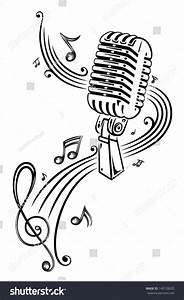 Microphone And Music Notes Stock Vector 149728820 ...